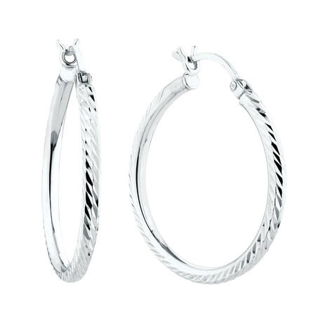 30mm Hoop Earrings in Sterling Silver