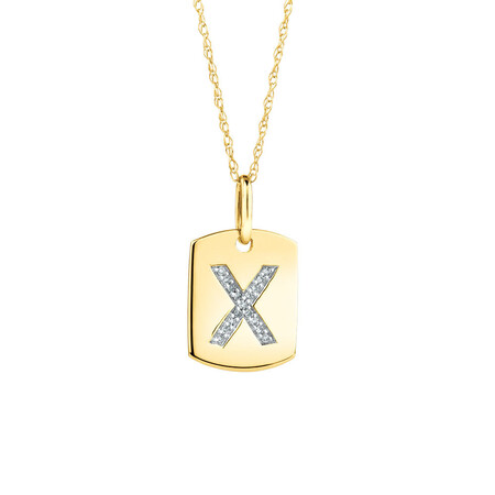 """X"" Initial Rectangular Pendant With Diamonds In 10ct Yellow Gold"