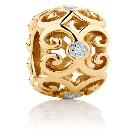 Diamond Set 10kt Yellow Gold Filigree Charm