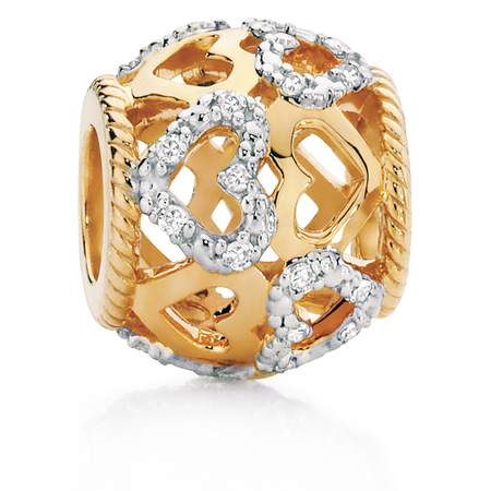 Diamond Set & 10kt Yellow Gold Charm