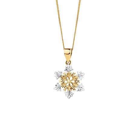 Snowflake Pendant in 10kt Yellow & White Gold
