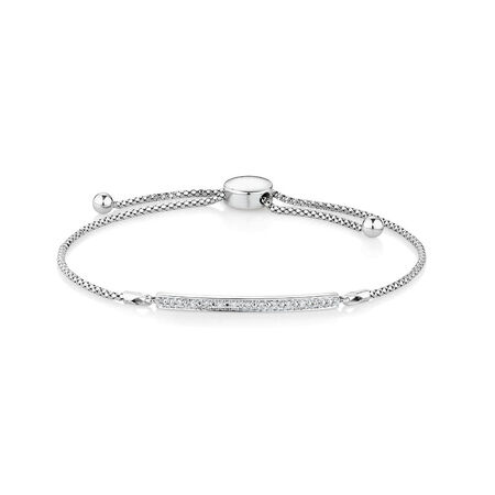 Adjustable Bracelet with Diamonds in Sterling Silver