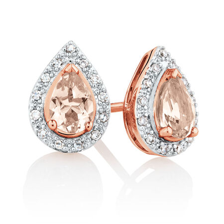 Earrings with Morganite & 1/10 Carat TW of Diamonds in 10kt Rose Gold
