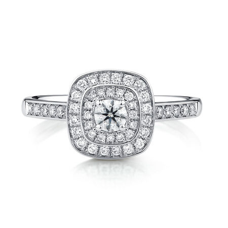 Whitefire Engagement Ring with 1/2 Carat TW of Diamonds in 18kt White & 22kt Yellow Gold