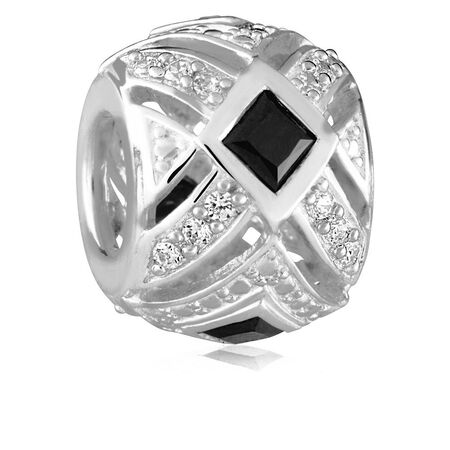 Black & White Cubic Zirconia Art Deco Charm