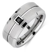 Men's Ring with an Enhanced Black Diamond in White Tungsten