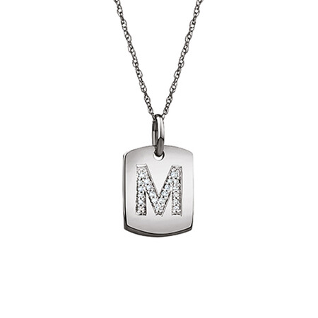 """M"" Initial Rectangular Pendant With Diamonds In 10ct White Gold"