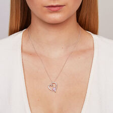 Pendant with Created Pink Sapphire & Cubic Zirconia in Sterling Silver