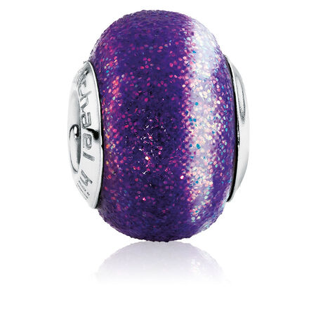 Purple & White Glitter Charm
