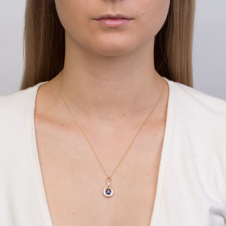 Pendant with Created Sapphire & Diamonds in 10kt Yellow & White Gold