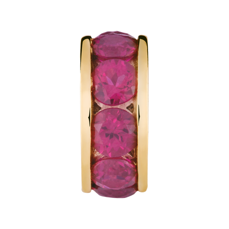 Created Ruby & 10kt Yellow Gold July Charm