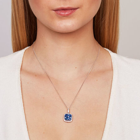 Pendant with Blue & White Cubic Zirconias in Sterling Silver