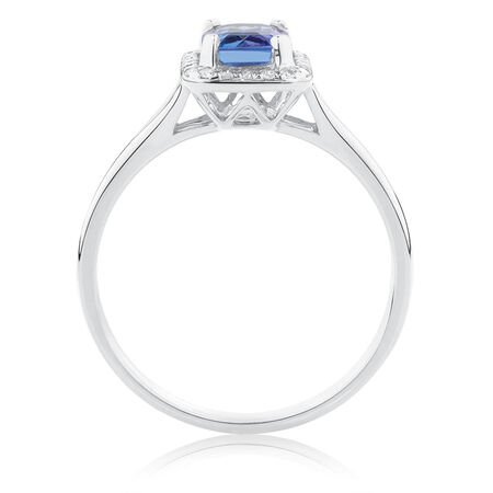 Ring with Tanzanite & 1/10 Carat TW of Diamonds in 10kt White Gold
