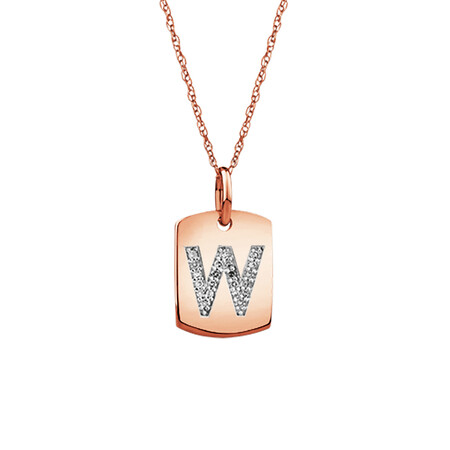 """W"" Initial Rectangular Pendant With Diamonds In 10ct Rose Gold"