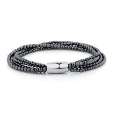 "19cm (7.5"") Wild Hearts Bracelet in Hematite & Stainless Steel"