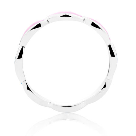Online Exclusive - Sterling Silver & Pale Pink Enamel Stack Ring