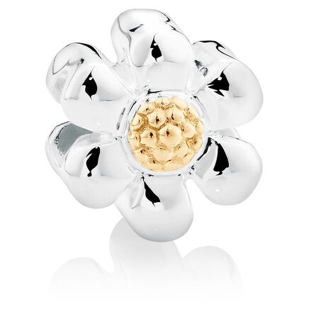 10kt Yellow Gold & Sterling Silver Daisy Charm
