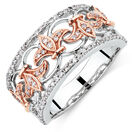 Filigree Ring with1/3 Carat TW of Diamonds in 10kt Rose and White Gold
