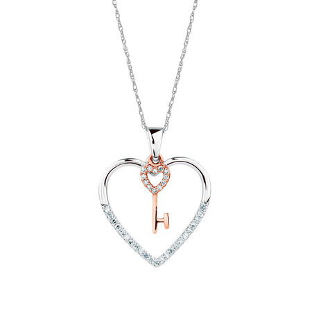 Pendant with 1/8 Carat TW of Diamonds in 10kt Rose Gold & Sterling Silver