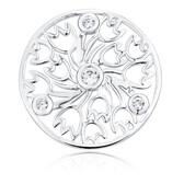 Cubic Zirconia & Sterling Silver Tulip Pattern Coin Locket Insert
