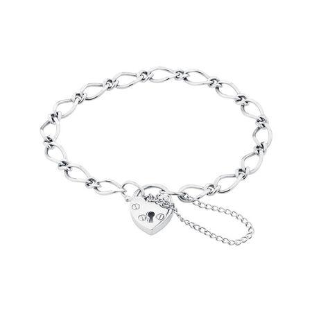 "Online Exclusive - 14.5cm (6"") Padlock Figaro Bracelet In Sterling Silver"