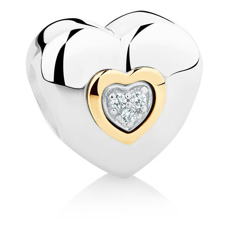Heart Charm with Cubic Zirconia in Sterling Silver & 10kt Yellow Gold