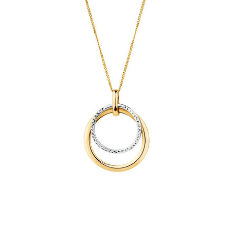 Double Circle Pendant in 10kt Yellow & White Gold