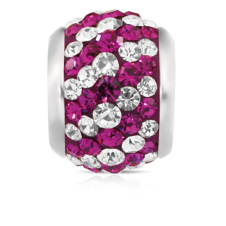 Hot Pink & White Crystal Charm