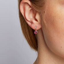 Drop Earrings with Created Pink Sapphire & Diamonds in 10kt Yellow & White Gold