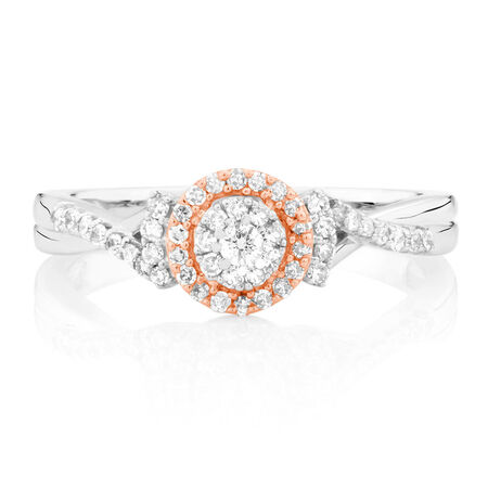 Promise Ring with 1/4 Carat TW of Diamonds in 10kt White & Rose Gold
