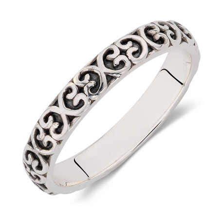 Oxidized Sterling Silver Heart Pattern Stack Ring
