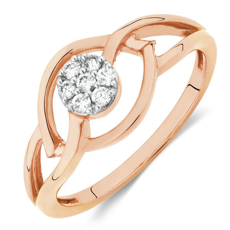 Promise Ring with 1/10 Carat TW of Diamonds in 10kt Rose Gold