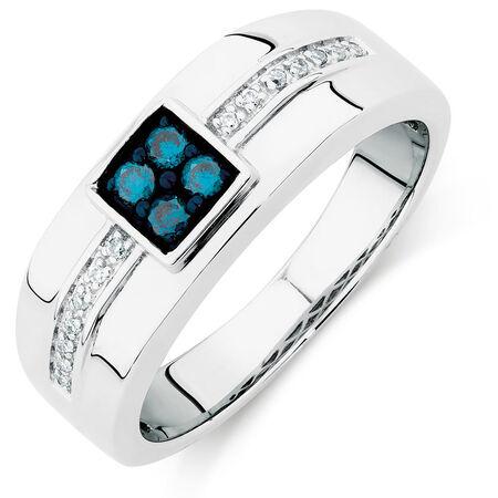Men's Ring with 1/4 Carat TW of White & Enhanced Blue Diamonds in 10kt White Gold