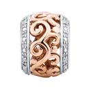 Diamond Set, 10kt Rose Gold & Sterling Silver Filigree Charm