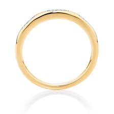 Diamond Set 10kt Yellow Gold Stack Ring