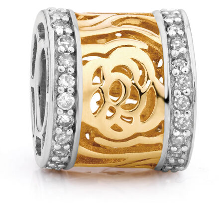Diamond Set & 10kt Yellow & White Gold Charm
