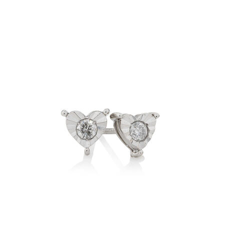 Heart Stud Earrings with 1/5 Carat TW of Diamonds in Sterling Silver