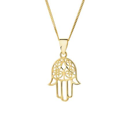 Hamsa Hand Pendant in 10kt Yellow Gold