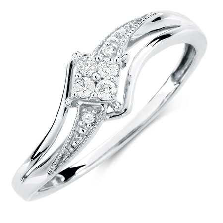 Promise Ring with 1/15 Carat TW of Diamonds in 10kt White Gold