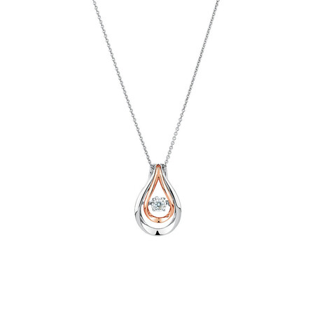 Everlight Pendant with a Diamond in 10kt Rose Gold & Sterling Silver