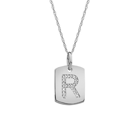"""R"" Initial Rectangular Pendant With Diamonds In 10ct White Gold"