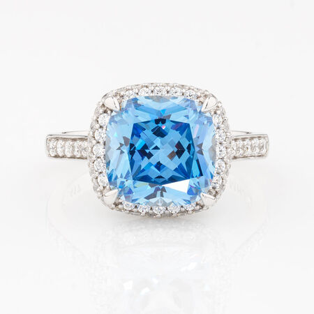 Online Exclusive - Ring with Blue & White Cubic Zirconia in 10kt White Gold