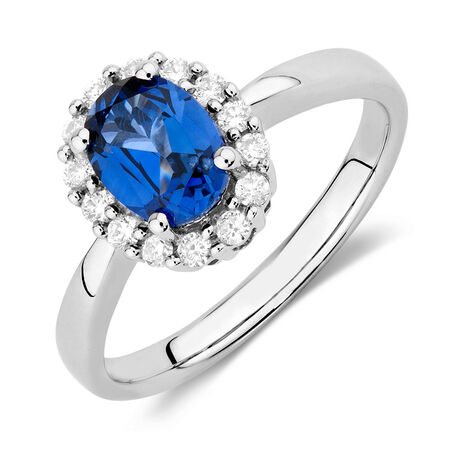 Ring with Created Sapphire & 1/4 Carat TW of Diamonds in 10kt White Gold
