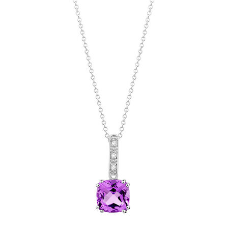 Online Exclusive - Pendant with Amethyst & Diamond in 10kt White Gold