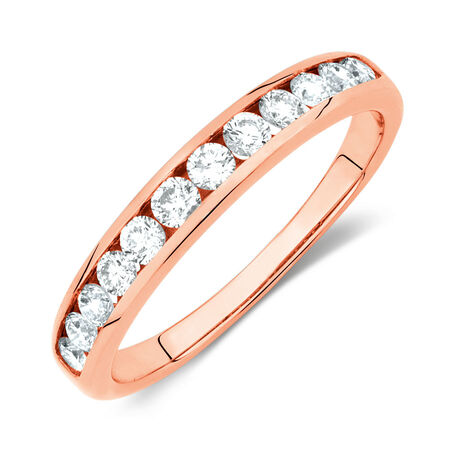 Wedding Band with 1/2 Carat TW of Diamonds in 10kt Rose Gold