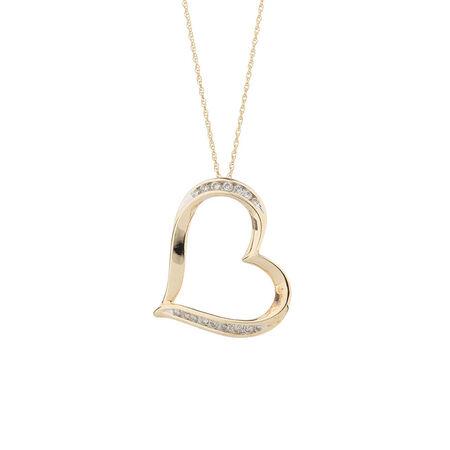 Online Exclusive - Heart Pendant with 1/4 Carat TW of Diamonds in 10kt Yellow Gold