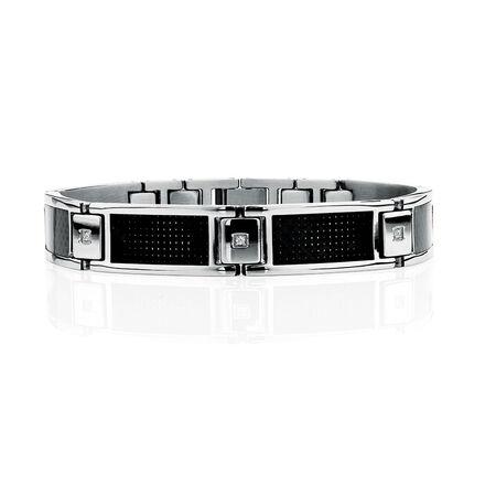 """Men's 21cm (8.5"""") Bracelet in Black Carbon Fibre & Stainless Steel"""