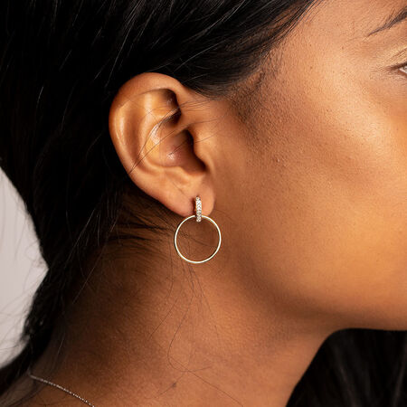Circle Bar Drop Earrings With Diamonds In 10kt Yellow Gold