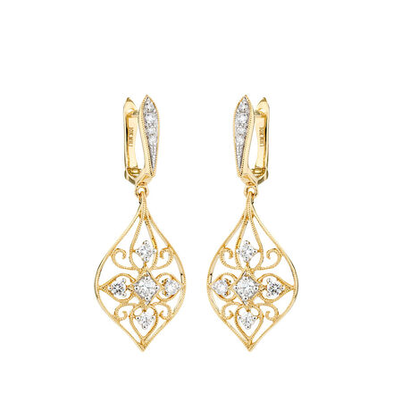 Drop Earrings with Diamonds in 10kt Yellow Gold