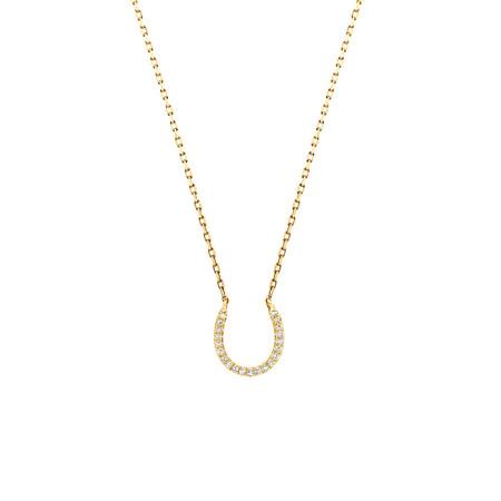 Horseshoe Pendant With Diamonds In 10kt Yellow Gold